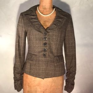 Nanette Lepore Brown Plaid Ruched Jacket W16